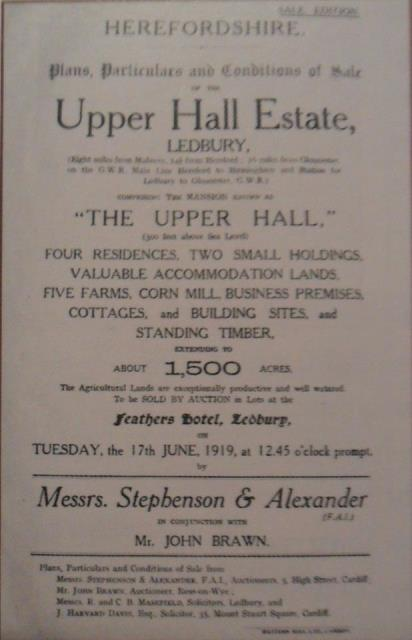 [Upper Hall Auction 1919]